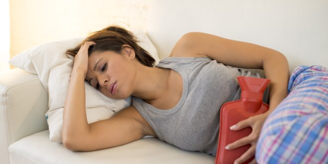 woman with PMS cramps